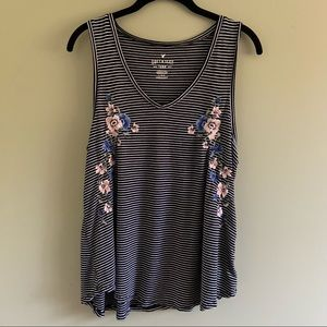 American Eagle striped floral embroidery tank top